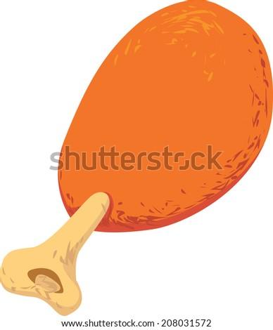 Vector illustration of single roasted chicken leg isolated on white - stock vector
