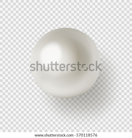 Vector illustration of single shiny natural white sea pearl with light effects isolated on transparent background.