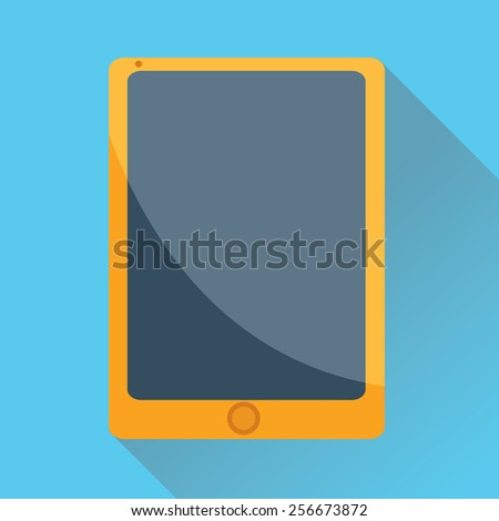 Vector illustration of single tablet flat icon in blue square background with diagonal shadow - stock vector
