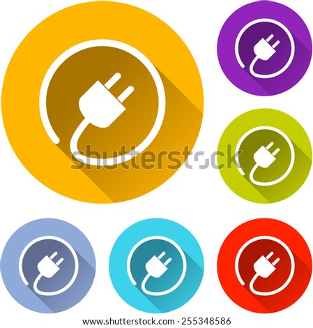 vector illustration of six colorful electric plug icons