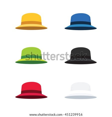 Vector Illustration of Six Colors Cloche Hat, Flat Style