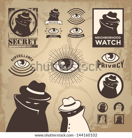 Vector Illustration of sketchy criminal, secret spy, government surveillance, private detective, undercover spy investigation, danger, villain, confidential information & neighborhood watch sign.Eps10 - stock vector