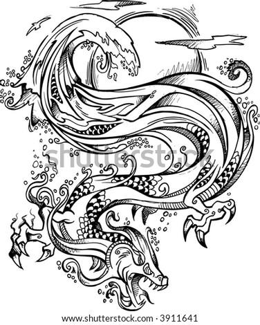 Vector Illustration of Sketchy Water Dragon - stock vector