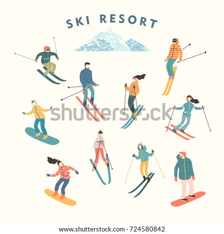 Vector illustration of skiers and snowboarders. Sports men and women in the ski resort. Trendy retro style.