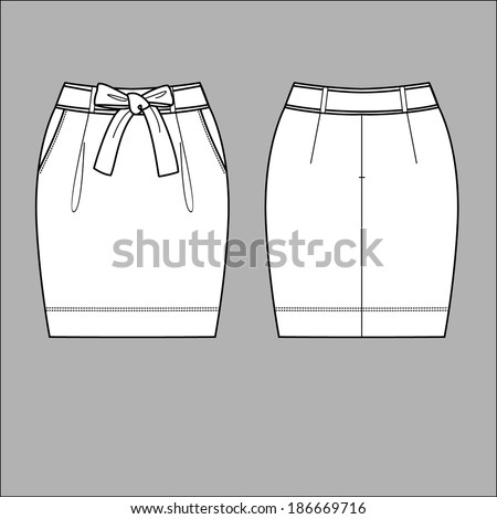 Vector Illustration of Skirt. Front and back views - stock vector