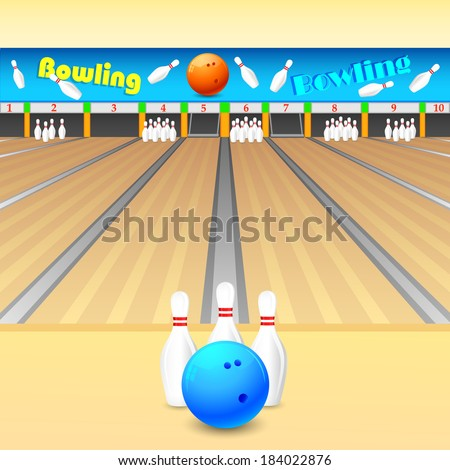 vector illustration of skittle and bowling ball on wooden floor - stock vector
