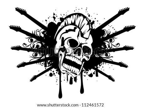 Vector illustration of skull punk guitar and patterns - stock vector