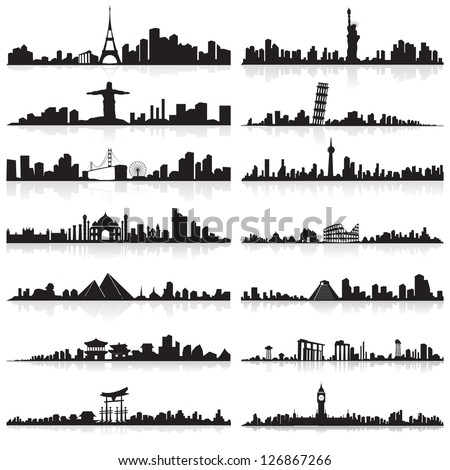 vector illustration of skyline of tall building of famous city - stock vector