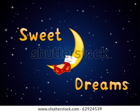 """Vector illustration of sleeping pillow on the crescent with title """"sweet dreams"""" - stock vector"""