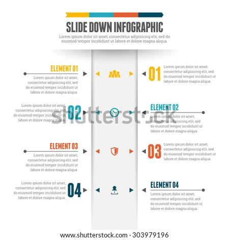 Vector illustration of slide down infographic design element. - stock vector