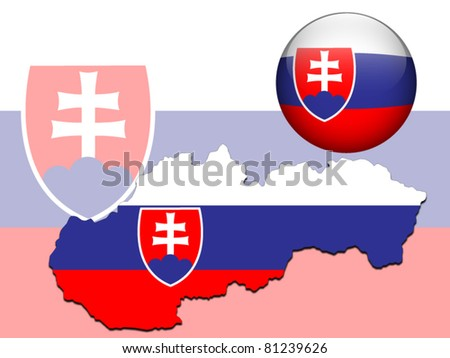 Vector illustration of Slovakia flag on map, glossy ball and background