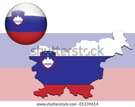 Vector illustration of Slovenia flag on map, glossy ball and background - stock vector