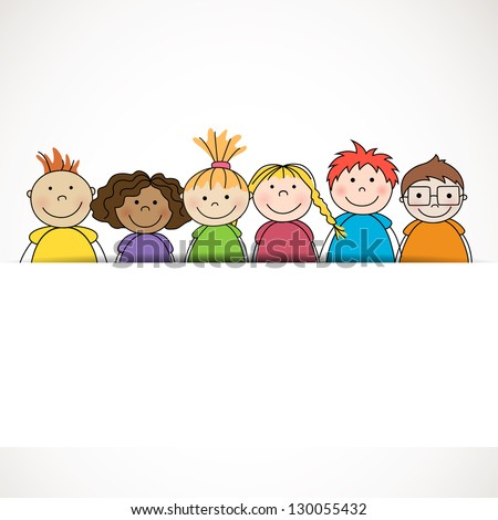 Vector Illustration of Small Kids - stock vector