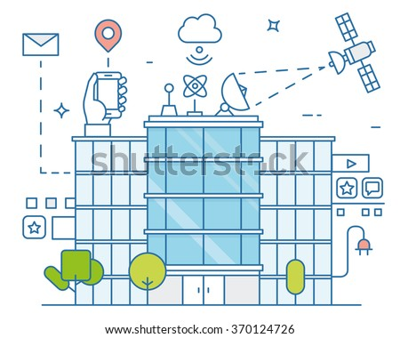 Vector illustration of smart city and internet of things, future technology for living. Smart environments - stock vector