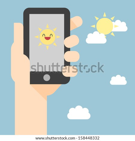 Vector illustration of smart phone. Weather reports via smart phone. Phone screen with sunny message. - stock vector