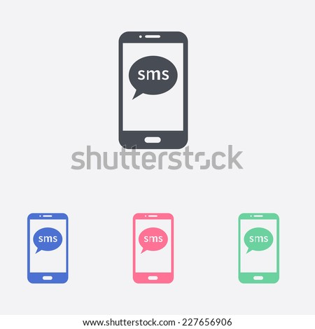 Vector illustration of smartphone icon  - stock vector