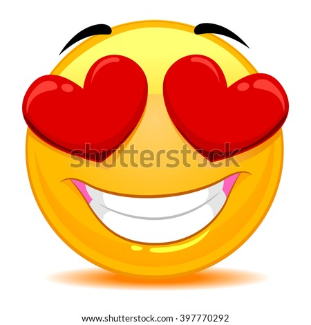 Vector Illustration of Smiley Emoticon Feeling In love - stock vector