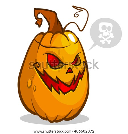 Vector illustration of smiley face carved in pumpkin head for Halloween. Vector isolated