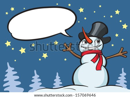 Vector illustration of smiling christmas snow man. Easy-edit layered vector EPS10 file scalable to any size without quality loss. High resolution raster JPG file is included. - stock vector