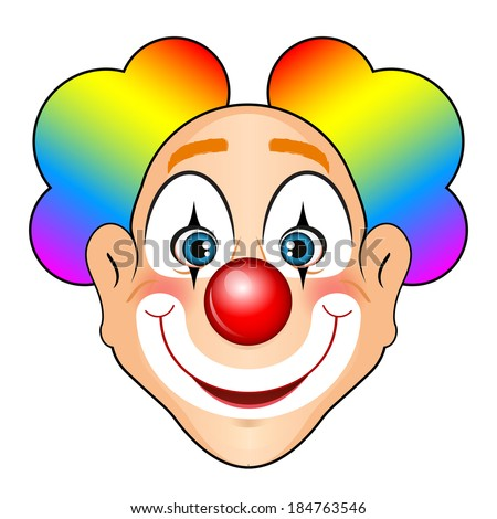 Vector illustration of smiling clown with colorful hair - stock vector