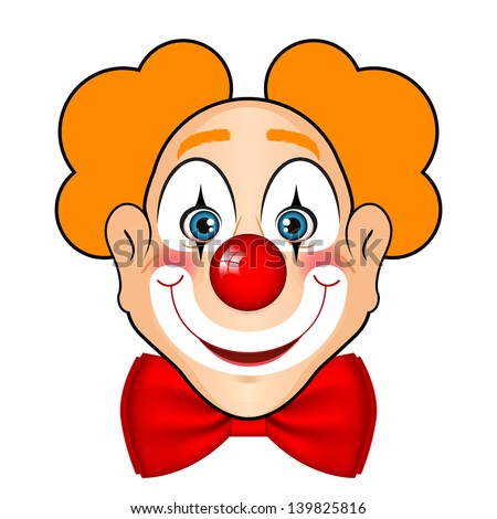 Vector illustration of smiling clown with red bow - stock vector