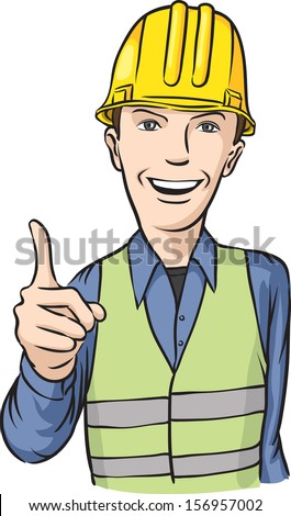 Vector illustration of smiling construction worker hand sign. Easy-edit layered vector EPS10 file scalable to any size without quality loss. High resolution raster JPG file is included. - stock vector