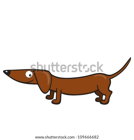 Vector illustration of smiling cute cartoon dachshund - stock vector