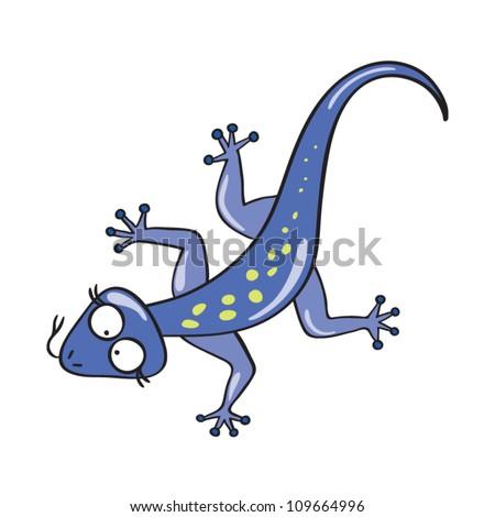 Vector illustration of smiling cute cartoon lizard. - stock vector