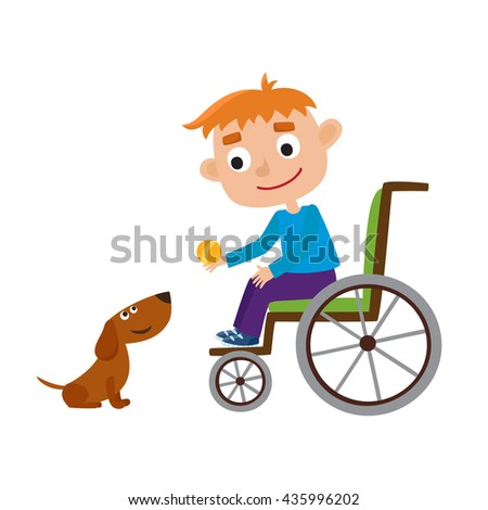 Vector illustration of smiling little red-hair boy with ball on a wheelchair playing with dog isolated on white. Cartoon happy disabled boy playing with an cute dog. - stock vector