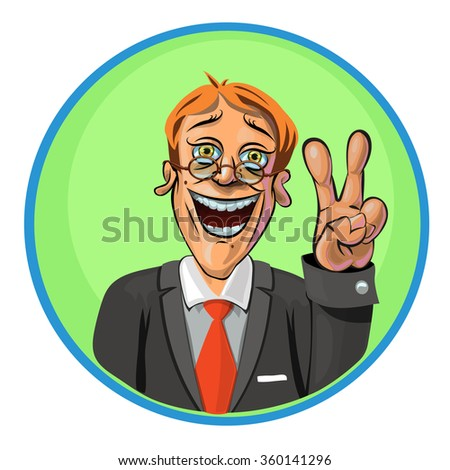 Vector illustration of smiling office worker showing V gesture. Can be used as an advertisement.  Made in comic cartoon style. - stock vector