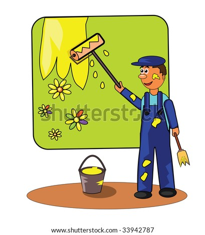 Vector illustration of smiling painter with roller and paintbrush.