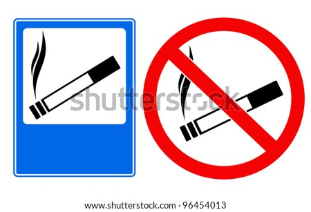 Vector illustration of smoking area and no smoking sings - stock vector