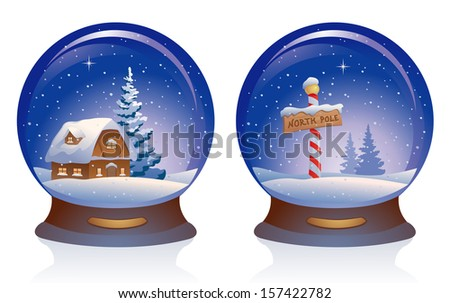 Vector illustration of snow globes, isolated on white - stock vector