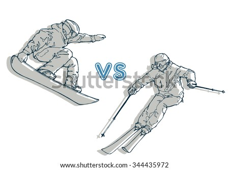 vector illustration of snowboarder and skier; competition