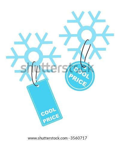 Vector illustration of snowflake with COOL PRICE label - stock vector