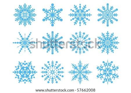 Vector illustration of snowflakes icons. - stock vector