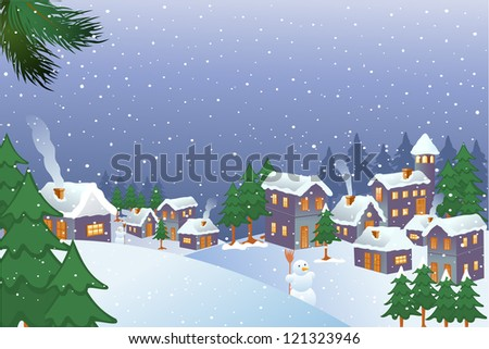 vector illustration of snowman in Christmas city - stock vector