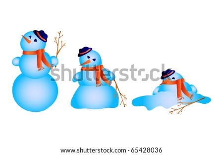 Vector illustration of snowman melts - stock vector