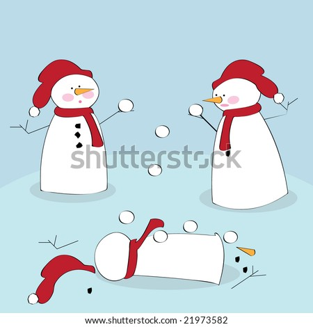 Vector illustration of snowmen fighting with snowballs - stock vector