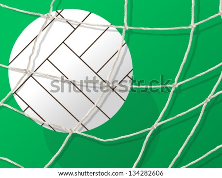 Vector illustration of soccer ball in the net. - stock vector