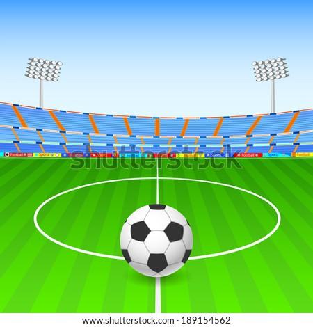 vector illustration of Soccer ball on stadium - stock vector
