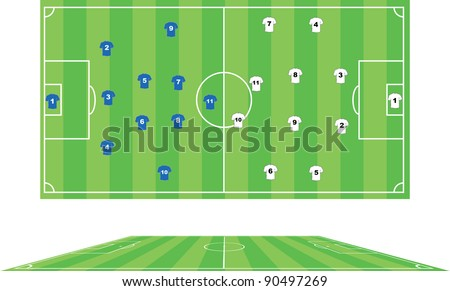 Vector illustration of soccer pitch. - stock vector