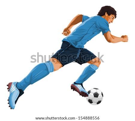 Vector illustration of soccer player kicking the ball. - stock vector