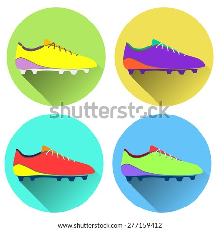 Vector illustration of soccer shoes, american football boots icon. Set. color flat design style with long shadow. - stock vector