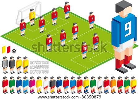 Vector illustration of Soccer tactical Kit, elements are in layers for easy editing - stock vector