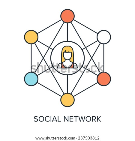 Vector illustration of social media flat line design concept. - stock vector