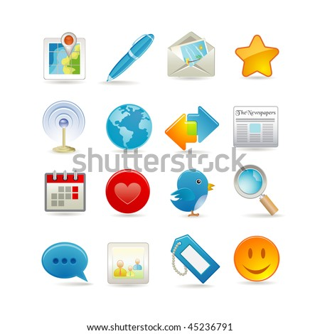 Vector illustration of social media icon set - stock vector