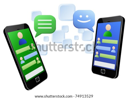 Vector illustration of social media messaging between two touch screen mobile phones. EPS8 file layered and grouped for easy editing - stock vector