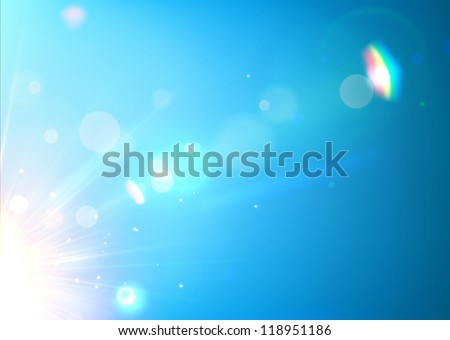 Vector illustration of soft blue abstract background with bokeh, lens flare and light streaks.