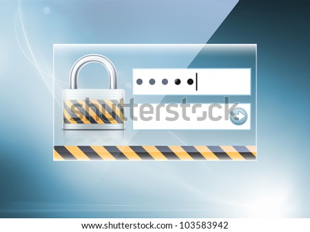 Vector illustration of soft colored abstract background with computer security concept - stock vector